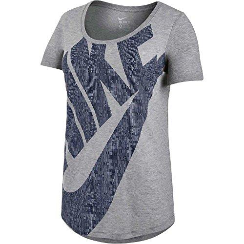 Nike Damen-T-Shirt Futura Glyph Fill Grigio/nero (DK GREY HEATHER/DK GREY HEATHER/OBSIDIAN)