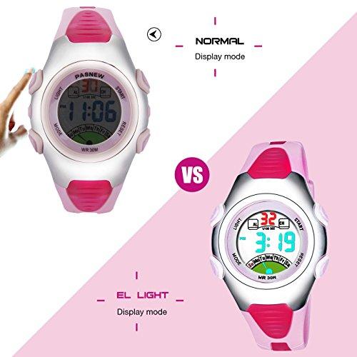 Mädchen Digital Uhren, Kinder 3 ATM wasserdichte Sport Digitaluhren mit Alarm/LED-Licht/Datum, Jugendliche Kinder Outdoor Sport elektronische Handgelenk Uhren für kleine Mädchen - Pink von rsvom