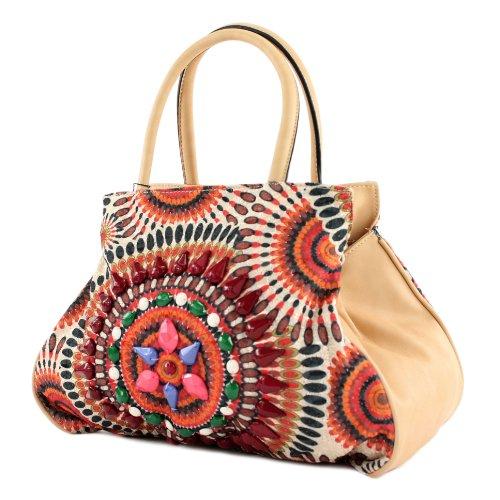 Handtasche Damentasche Tasche Tragetasche Damen Mexicostyle Lederimitat LK138064 Rot