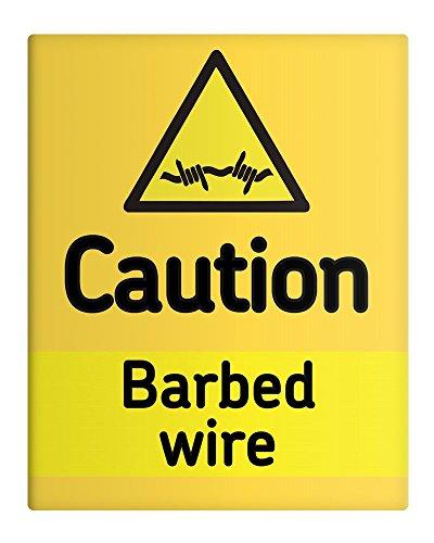 """Cartello di sicurezza sul luogo di lavoro, in metallo, con scritta """"Caution Barbed Wire"""", 20,32 x 25,40 cm"""