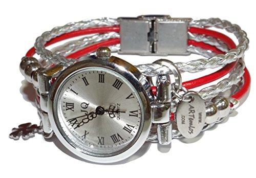 ARTemlos® Handmade Damen-Uhr aus Edelstahl, Metall und Leder in silber/rot