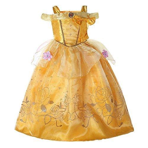 Détails sur la belle robe de princesse beauté bête Costume fille robe de carnaval jaune