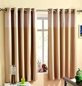 Beige/Taupe 117 x 137 cm VICHY rideaux Envers thermique pour chambre Rideau à œillets prêts à poser et entièrement Enhanced Living Rideaux