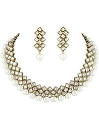 Shining Diva White Pearl Kundan Choker Party Wear Necklace Set with Earrings for Women