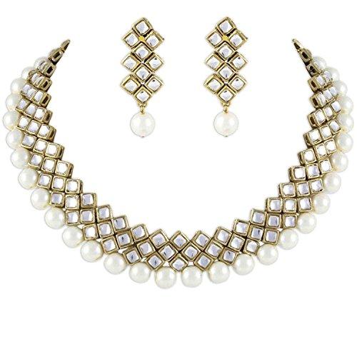 Shining Diva White Pearl Kundan Choker Necklace Set with Earrings for Women (7814s)