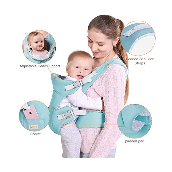 Infant Baby Holder Carrier Backpack Ergonomic with Head Support Padded Shoulder Straps Front and Back for Newborn Toddler Wrap in All Season,Green tiancaiyiding ❤ Ergonomic Design: Wide and thick backpack straps help relieve stress . Easy to put on or take off. ❤ M shape Position: Stop hurting your baby's legs. Keep blood circulation in normality. ❤ All-round Support: Simple and thus strong structure. 360° wraps the baby against falling out. Collapsible hood for wind and sun protection 5