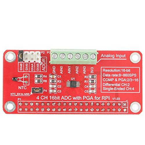 Akozon ADS1115 16 Bit ADC-Modul Precison Analog-Digital-Wandler Modul 4 Kanal für Raspberry Pi 3/2/B+ -