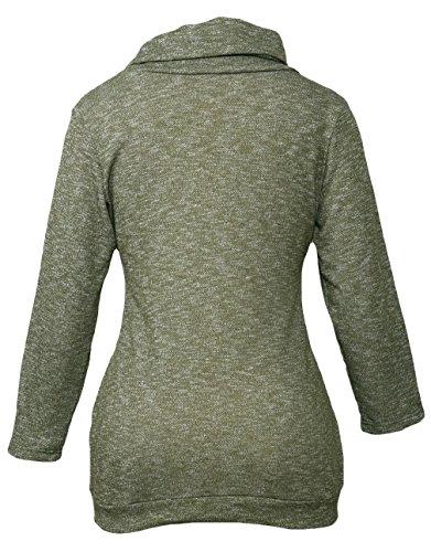 La Vogue Femme Pull Sweat-Shirt Sport Col Rond Manche Longue Vert