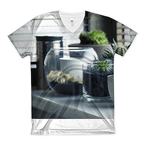 T-Shirt with Pots, Plants, Cactus, Succulent, Shelf