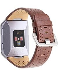 Pinhen Ersatzarmband für Fitbit Ionic Smartwatch, aus echtem Leder, erhältlich in verschiedenen Farben und Größen