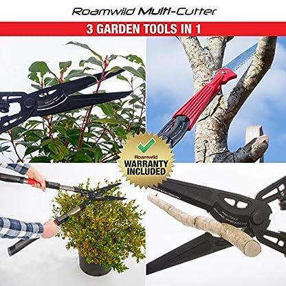 Roamwild – Cortador múltiple   3 Herramientas de jardín en 1   Tijeras de podar para seto, Tijeras de podar y Sierra de podar de Largo Alcance   Características Extensibles Asas telescópicas