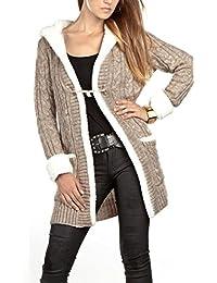 13d1ea2936c23f Mikos Damen Strickjacke mit Kapuze Zopfstickmuster Warm Winter Pullover  Strickpullover S M L XL 36 38 40