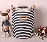 Wäschekorb,GUOYI®Prämie Mode Faltbar Baumwolle Leinen Stoff Haushalt Veranstalter Kinder Spielzeug Lagerung Tasche mit Deckel 35*45cm,Blaue Streifen