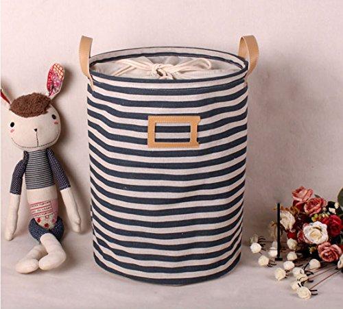 Wäschekorb,GUOYI®Prämie Mode Faltbar Baumwolle Leinen Stoff Haushalt Veranstalter Kinder Spielzeug Lagerung Tasche mit Deckel 35*45cm,Blaue Streifen -