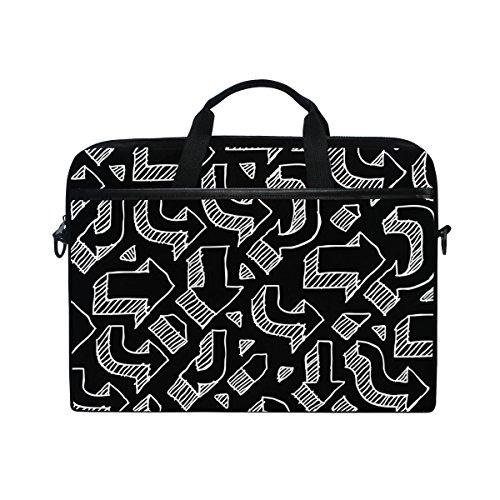 Ahomy 14-15 Zoll Laptop Tasche schwarz und weiß Pfeil Canvas Stoff Laptop Tasche Bussiness Handtasche mit Schultergurt für Damen und Herren