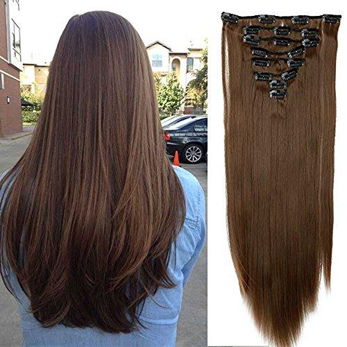 Extension clip capelli veri lisci lunghi [castano chiaro] 8 fasce sintetiche con 18 clip in estensioni 26