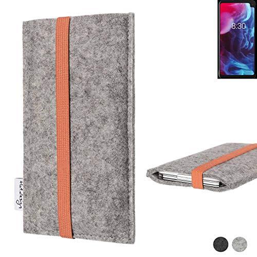 flat.design Handy Hülle Coimbra für Archos Oxygen 63XL - Schutz Case Tasche Filz Made in Germany hellgrau orange
