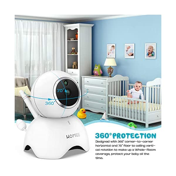 HOMIEE 720P Camera Exclusive for HOMIEE Baby Monitor, Two Way Audio, Night Vision, VOX, Lullaby, Sound & Temperature Alert, 1000ft Connection (Additional Camera) HOMIEE 【Version Compatibility】This additional camera is only compatible with HOMIEE Baby Monitor White (ASIN: B07W8NFSPX). If you don't know how to pair, please contact us, we will send you instructions. 【Night Vision】The baby camera features an invisible IR LED sensor for Infrared Night Vision (range can up to 5 meters) to deliver clear videos in darkness without disturbing the baby. it will alarm when baby is crying and temperature gets too high or too low. 【355 -Degree Omnidirectional Coverage】The camera can be wireless controlled to rotate about 355 degree horizontally, to bow and lie down between 70 degree at most. HOMIEE video baby monitor also supports zoom for closer views on screen. 4