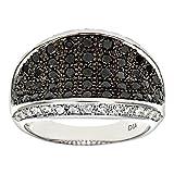 Naava 9ct White Gold Multi Row Black Diamond Eternity Ring