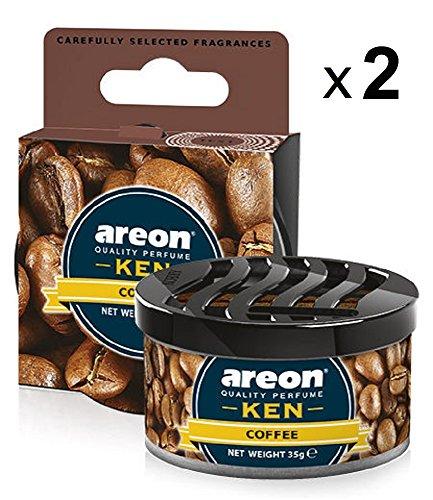 Areon Ken Ambientador Coche Café Casa Hogar Aire Olor Lata Debajo Asiento Perfume Original Marrón 3D ( Coffee Pack de 2 )