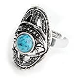 Skyllc Anillo de dedo ajustable azul turquesa de plata tibetana plateado diamante 29 * 18mm