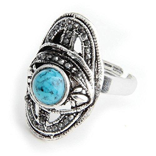 Skyllc® Blau Türkis tibetanisches Silber überzogene Diamant justierbarer Finger Ring 29 * 18mm