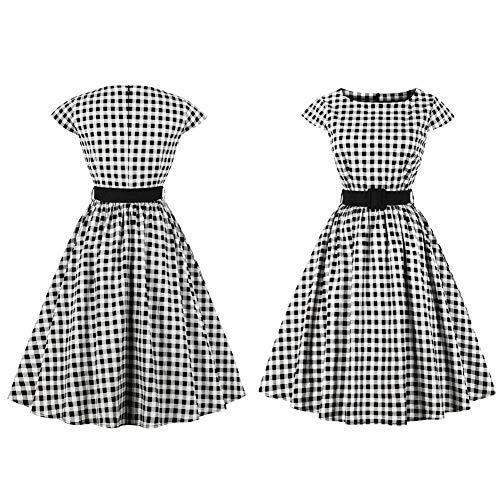 Elegante Vintage Lady Dress, Rundkragen Plaid Cap Sleeve Party Swing Kleid mit Bund(XL) Cap Sleeve Plus Size Cap