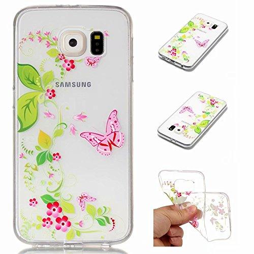 Samsung Galaxy S6 Hülle Case mit Panzerglas Schutzfolie Folie, MISSDU Transparente Silikon Handyhülle Dünn Durchsichtig Frischer Blumenschmetterling