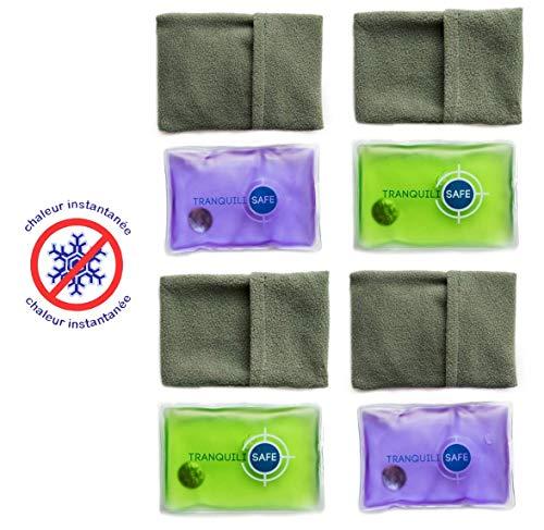 TRANQUILISAFE ® - Taschenwärmer I Handwärmer I Wärmekissen Wiederverwendbar mit Bezug aus Microfaser - Nie mehr kalte Hände im Winter - ideal für Kinder - 4er Set, je 11x8 cm