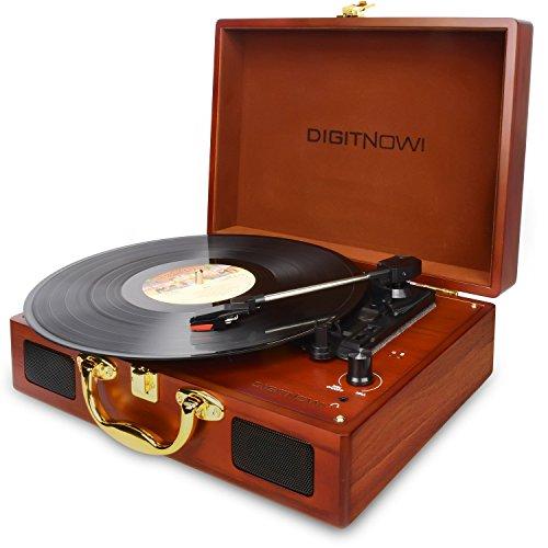 DIGITNOW! LP Plattenspieler Turntable für Vinyl mit eingebauten Lautsprechern Wiederaufladbarer Plattenspieler mit PC-Aufnahmefunktion, USB-/SD-Recorder, Kopfhörerbuchse, Clinch-Line-out
