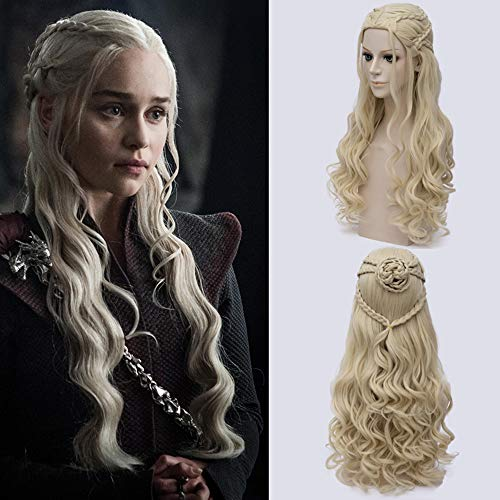 Hair Women Girl es White Long Blonde Curly Queen Hair Halloween Kostüm wig ein Spiel der Throne (Daenerys Targaryen Kostüm Hochzeit)