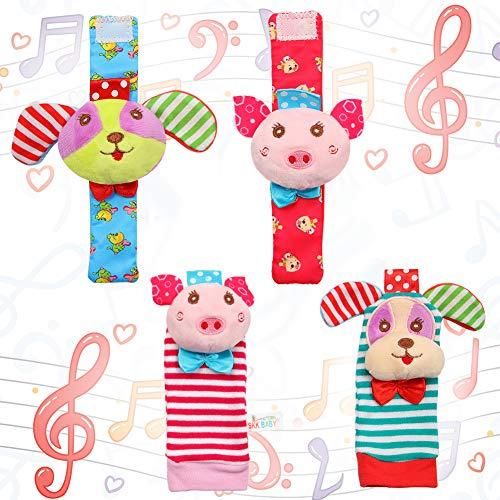 Acekid Baby Fuß Rassel, 4pcs Handgelenk Rassel und Socken Spielzeug Set, Kleinkind weiche Tier Spielzeug Schwein und Hund