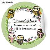 24 nette, Custom Adress-Aufkleber mit schlauen Eulen grün, MATTE Papier Sticker mit ihrem Text nach Wunsch universal Etiketten, Namensschilder für Tischdeko, Schule (4,5cm)