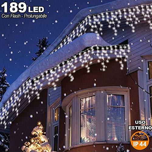 Bakaji lighting tenda cascata luminosa 510 x 90 cm prolungabile fino a 15 mt 189 led con flash, luci per esterno catena natalizia ip44 (bianco freddo)