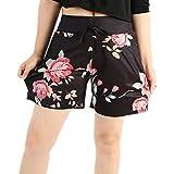 Kurzehose Damen,Sonnena Sommer Mode Frauen Blume Print Dünn Shorts Mini Hosen Damen Reizvoller Tunnelzug Hotpants Sommerhose Lässig Kurze Yoga Hose Strandhose (XL, Schwarz)