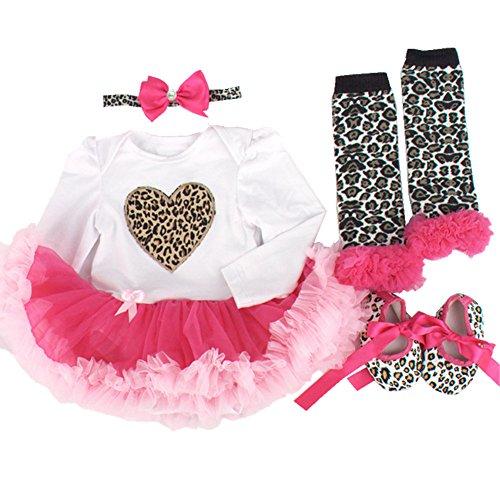 Sallyshiny Neugeborene Baby Mädchen Geburtstag Strampler Kleid Tutu Rock Outfit Body Love Herz Kleidung 4-teiliges Set Kopfband Schuhe Beinwärmer Gr. 0-3 Monate, White + Rose red