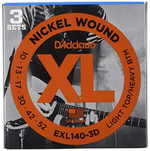 D'Addario EXL140-3D vernickelte Stahlsaiten für E-Gitarre .010 - .052 Light Top/Heavy Bottom (3er Pack) Sparpack Heavy Bottom Set