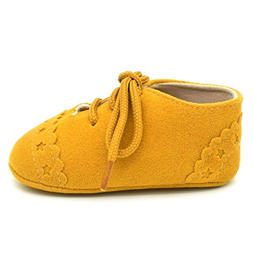 Luerme Babyschuhe Kleinkind Schnürschuhe Wildleder Wanderschuhe Weiche Sohle Lauflernschuhe Krippeschuhe Gelb