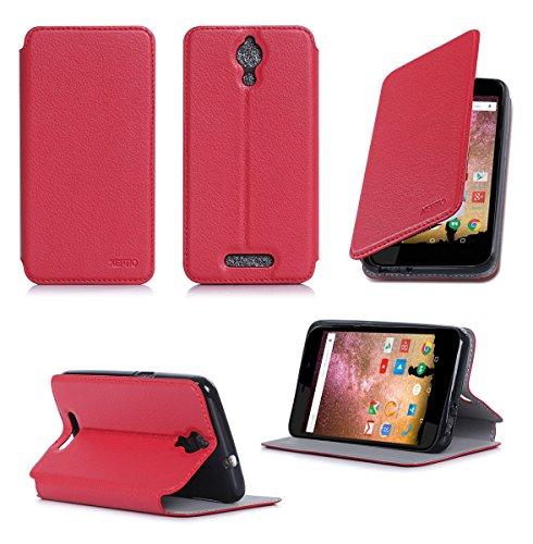 Ultra Slim Tasche Leder Style Archos 50 Power 4G Hülle Rot Cover mit Stand - Zubehör Etui Archos 50 Power Flip Case Schutzhülle (PU Leder, Red) - XEPTIO accessoires 2014/2015