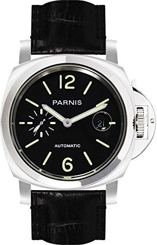 PARNIS 9065 sportliche Herren-Automatik-Uhr 44mm Herrenuhr 5BAR Wasserdicht 316L Edelstahl-Gehäuse Robustes Lederarmband Markenuhrwerk von Seagull Kaliber ST25
