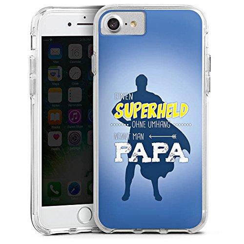 Apple iPhone 8 Bumper Hülle Bumper Case Glitzer Hülle Vatertag Spruch Papa Bumper Case transparent