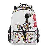 Ahomy Schulrucksack Buchtasche für Teenager Mädchen Jungen Blumen Schmetterling Mädchen Fahrrad Reiserucksack Tasche Wandertasche für Frauen Herren