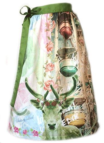 Schürzenliesl, Designer Dirndl Schürze Riesenrad, rose grün blau, Strasskrone, (70cm)