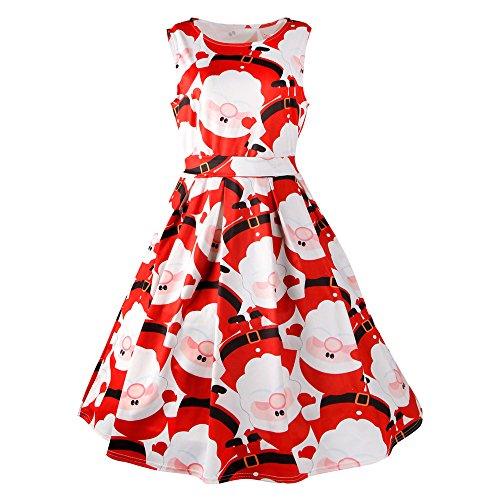 Yesmile Vintage Kleid Frauen Schön Weihnachtsmann Partykleider Mode 50er Vintage Retro Kleid Party...