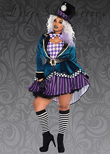 Magic Box Int. Womens Plus Size Gothic Mad Hatter Kostüm 3X/4X (UK 20-22) (Womens Mad Hatter Kostüm)