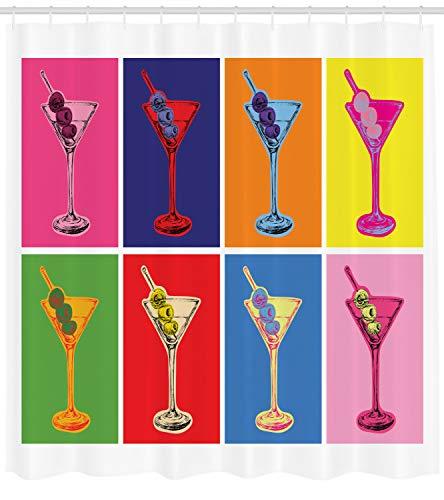 ABAKUHAUS Alkohol Duschvorhang, Buntes Martini-Glas, mit 12 Ringe Set Wasserdicht Stielvoll Modern Farbfest und Schimmel Resistent, 175x180 cm, Mehrfarbig