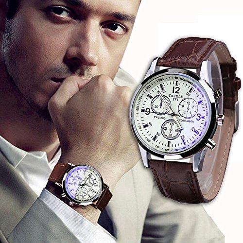 Yogogo Herren Quartz Analog Ray Armband , 1 Cent Artikel Armbanduhr | Lederband | Dekoration | Sportuhr | Geschenk | Alugehäuse | Quarzwerk | 24cm Bandlänge (Braun 1)