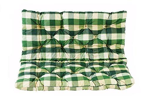 Meerweh Coussin a carreux haut dossier pour de Banc de Jardin HANKO, 2 Sièges, Coton, ca. 100 x 98 x 8 cm, ton vert, 100x98x8 cm