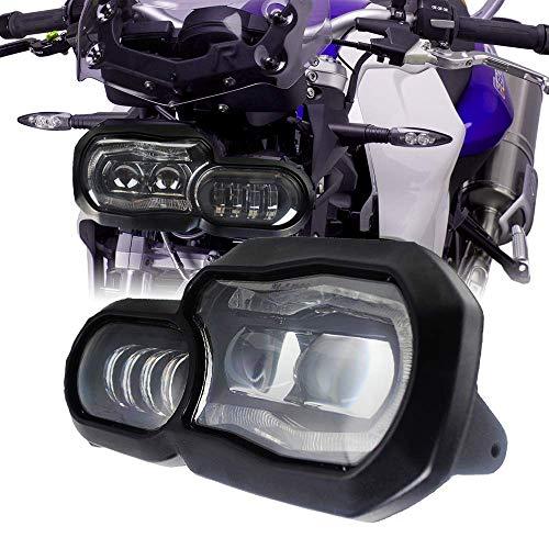 LED Scheinwerfer für Motorrad mit Angel Eyes DRL Montage, E-Mark E-Prüfzeichen, wasserdicht DC12-24 V Scheinwerfer für F800GS F700GS - Ersatz-scheinwerfer-montage