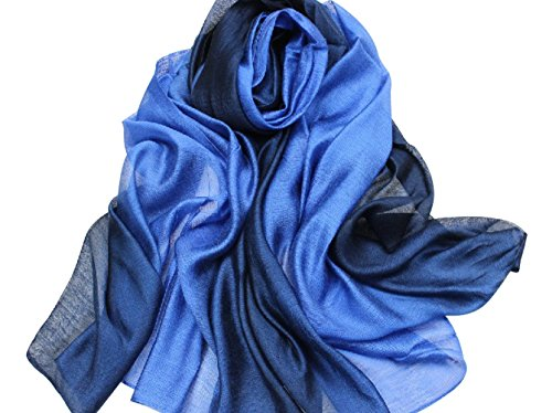 PB-SOAR Lightweight Silk Scarf Gradient Color Long Scarf Shawl Stole Wrap for Women, 14 Colors Available
